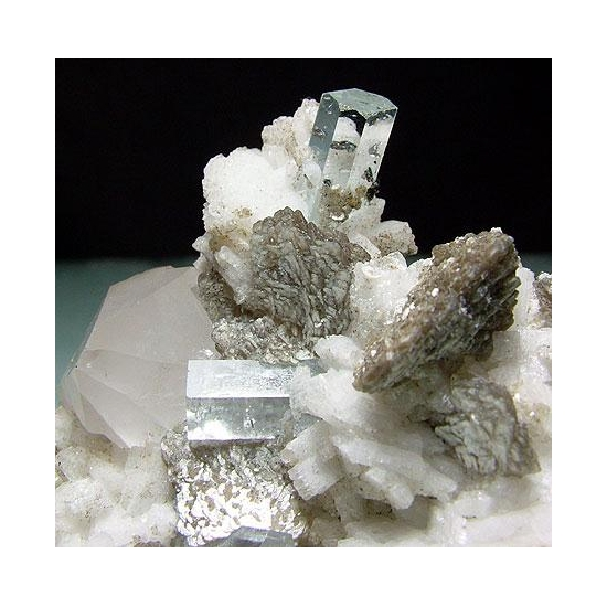 Aquamarine With Tantalite Quartz Muscovite & Albite