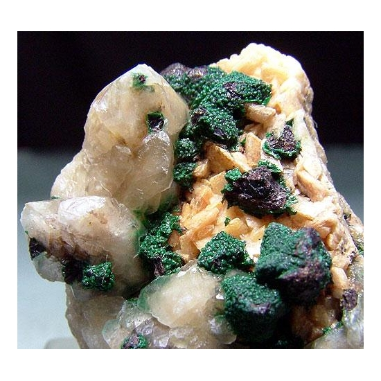 Chalcopyrite Malachite With Calcite & Dolomite