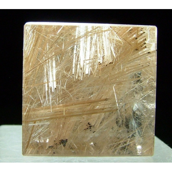 Quartz With Rutile Inclusions - Polished Cube
