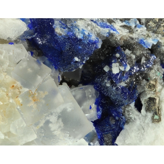 Linarite On Galena With Fluorite