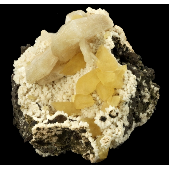 Calcite & Stilbite On Heulandite