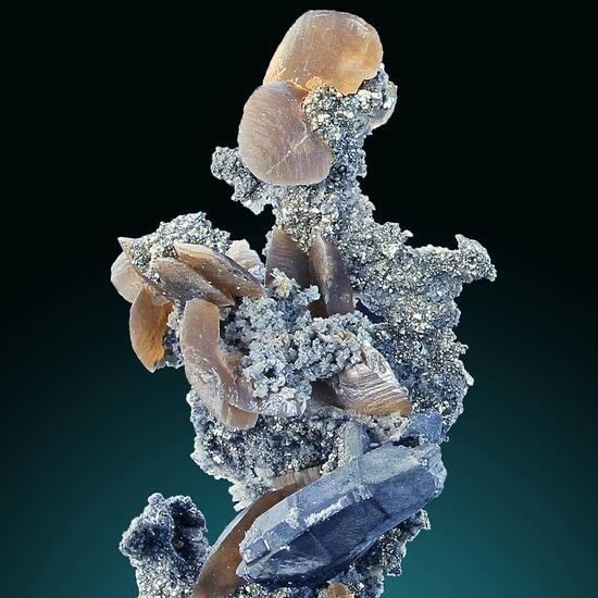 Bournonite With Siderite & Pyrite